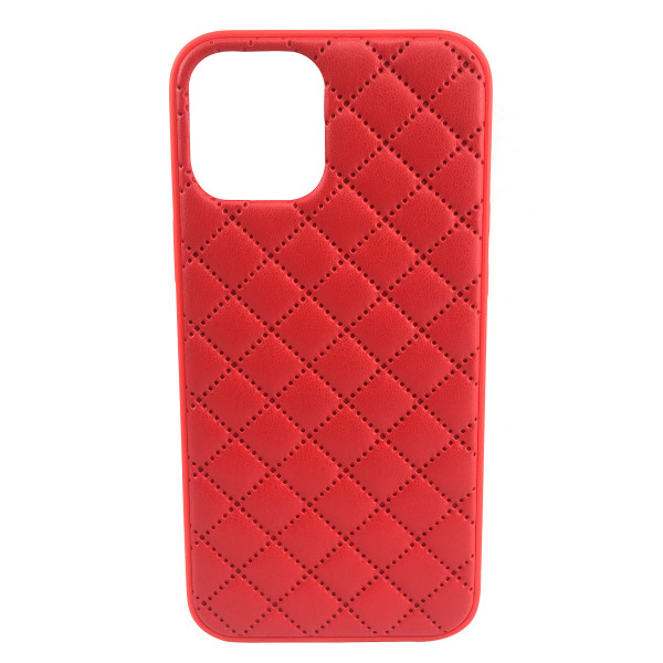 Чехол iPhone 12/12 Pro Quiled Leather Case (red)