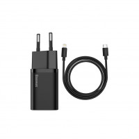 Сетевое зарядное устройство Baseus Super Si 20W + Cable Type-C to Lightning (TZCCSUP-B01) Black