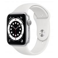 Apple Watch Series 6 GPS 44mm Silver Aluminum Case w. White Sport B. (M00D3UL/A) UACRF