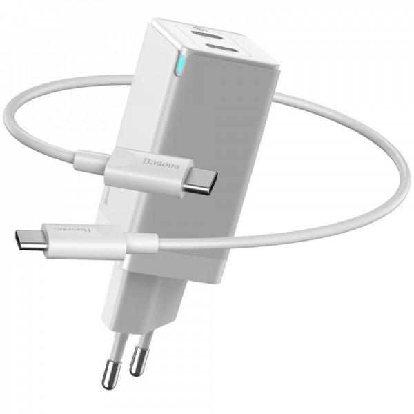 Сетевое зарядное устройство Baseus GaN2 Quick Charger 45W + Type-C to Type-C Cable (Type-C/Type-C) White