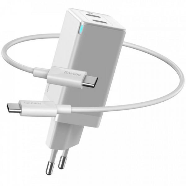 Сетевое зарядное устройство Baseus GaN2 Quick Charger 45W + Type-C to Type-C Cable (CCGAN-M02) White