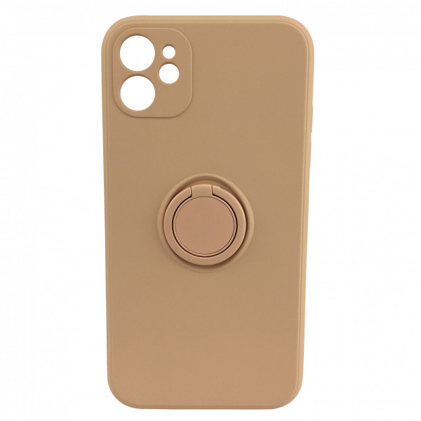Чехол iPhone 12 Silicone Case with Ring Holder (grapefruit)