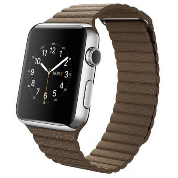 Apple Watch 42mm Stailnless Steel Case with Light Brown Leather Loop (MJ402)