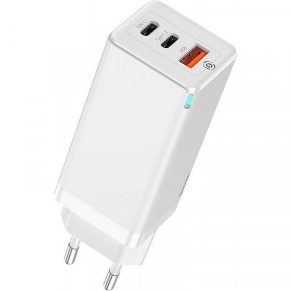 Сетевое зарядное устройство Baseus GaN Quick Travel Charger C+C+A 65W EU White