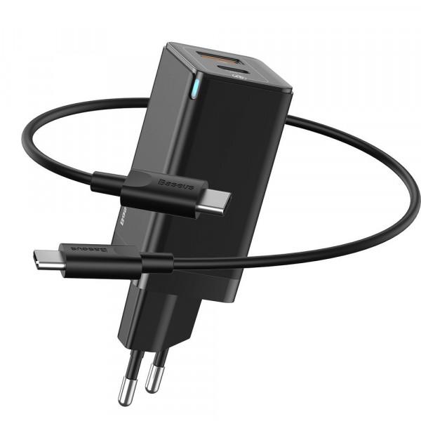 Сетевое зарядное устройство Baseus GaN2 Quick Charger 45W +Type-C to Type-C Cable (CCGAN-Q01) Black