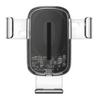 Авто Держатель Baseus Explore Wireless Charger Gravity Car Mount 15W (black-transparent)