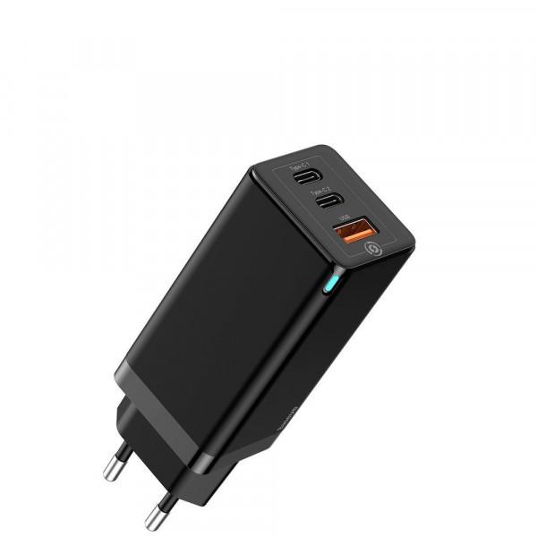 Сетевое зарядное устройство Baseus GaN Light Quick Charger C+C 65W EU Black