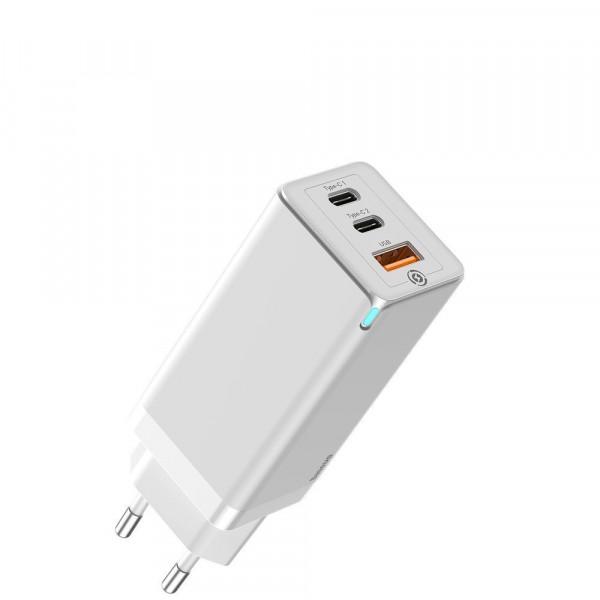 Сетевое зарядное устройство Baseus GaN Light Quick Charger C+C 65W EU White