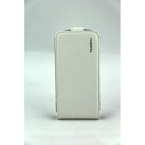 Чехол Флип для iPhone 4/4S NUOKU CRADLE (Белый) (Преcсованая кожа)