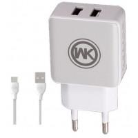 Сетевое зарядное устройство WK Blanc 2 USB WP-U11 (white)