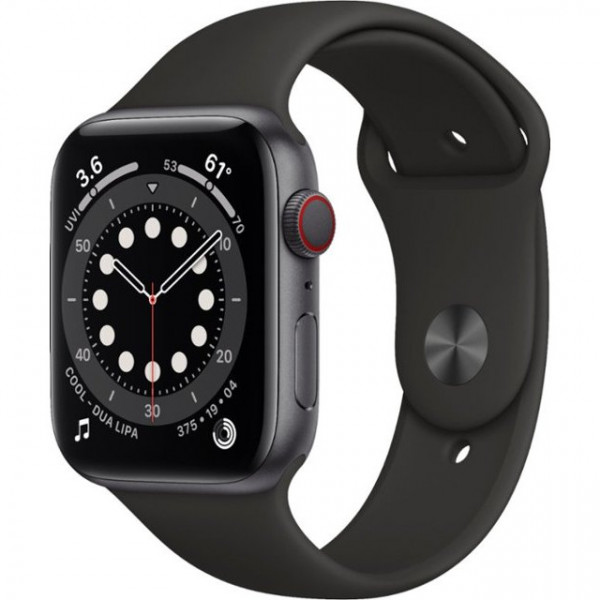 Apple Watch Series 6 GPS + Cellular 44mm Space Gray Aluminum Case w. Black Sport B. (M07H3)