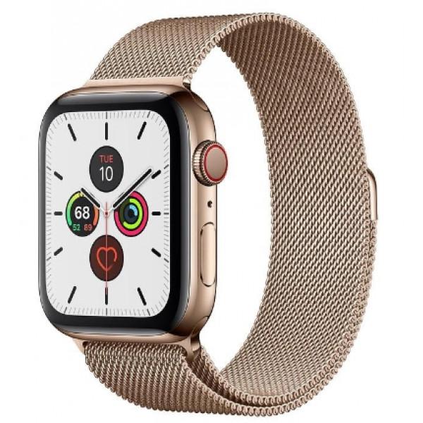Apple Watch Series 5 LTE 44mm Gold Steel w. Gold Milanese Loop - Gold Steel (MWW62, MWWJ2)