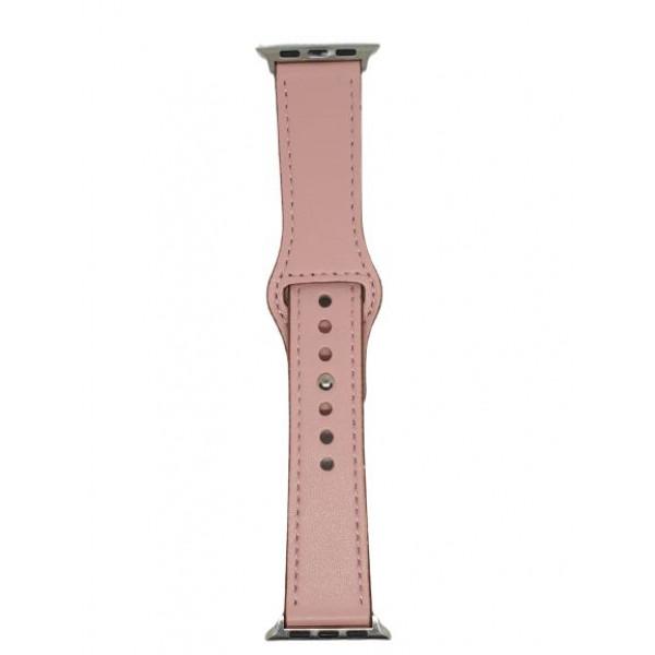 Ремешок для Apple Watch 42mm/44mm Leather Rivet Claps (pink)