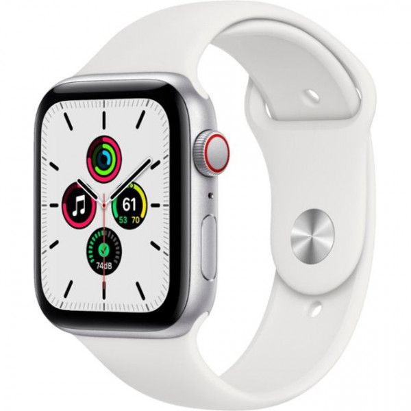 Apple Watch SE GPS + Cellular 44mm Silver Aluminum Case with White Sport B. (MYEM2)