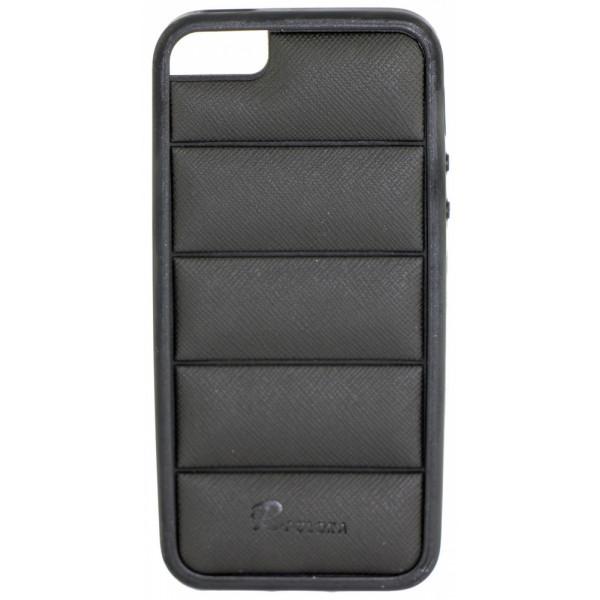 Чехол Накладка для iPhone  5/5S PULOKA (Черный) (Силикон)