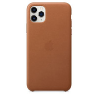 Чехол Накладка для iPhone 11 Pro Max Apple Leather Case (Saddle Brown)
