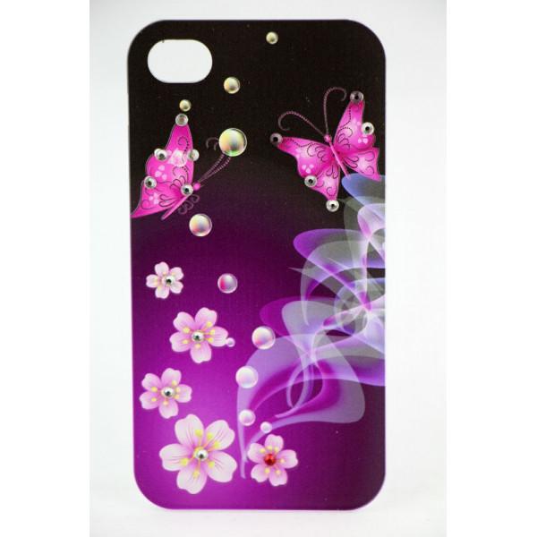Чехол Накладка для iPhone 4/4S LAVAS SWAROVSKI Butterfly (Фиолетовый) (Пластик)
