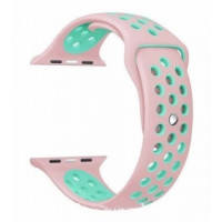 Ремешок-браслет для Apple Watch 38mm Silicone Nike Sport Band (Rose-Sea Blue)