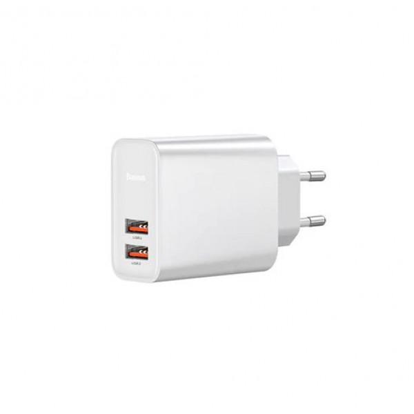 Сетевое зарядное устройство Baseus Speed Quick Charger 2USB/30W/QC/PD (White)