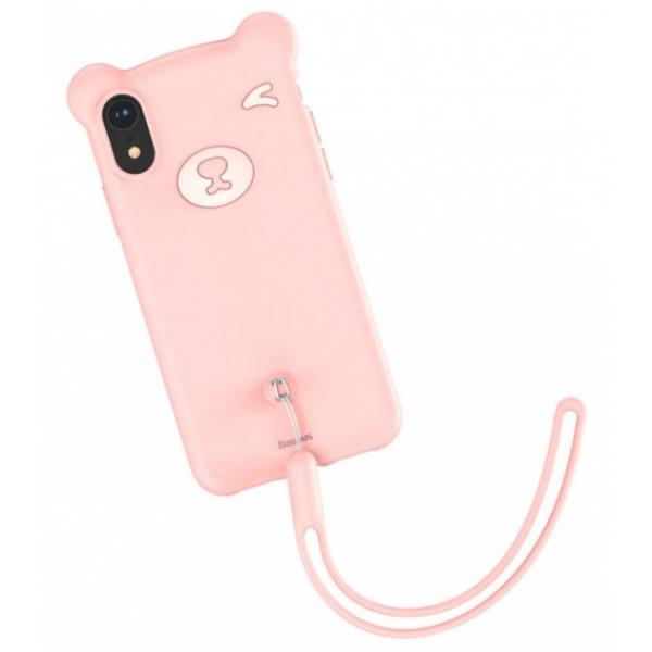 Чехол накладка iPhone Xr  Baseus Bear  Case (pink)