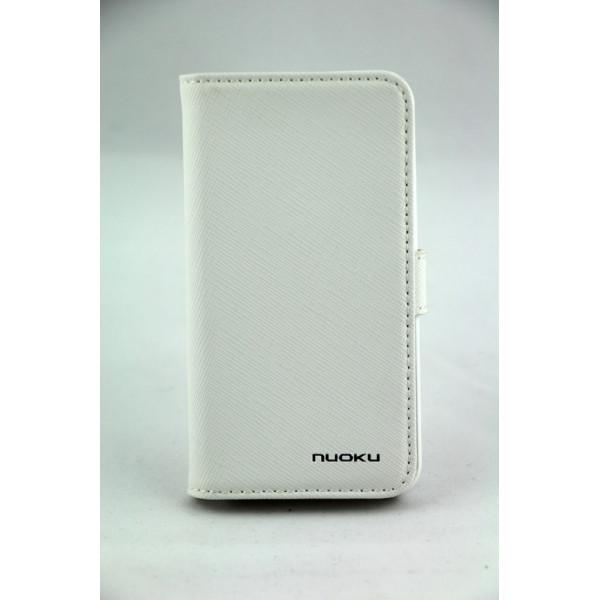 Чехол Книжка для iPhone 4/4S NUOKU BOOK (Белый) (Преcсованая кожа)