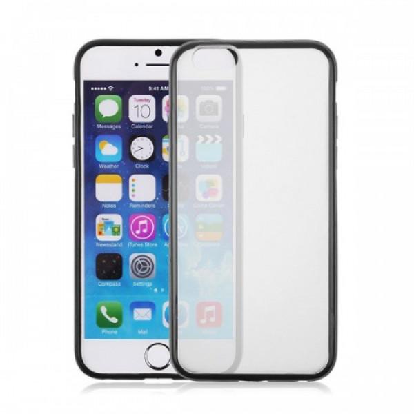 Чехол Накладка для iPhone 6  ESCOTT Clear Shell (Прозрачный+Черный) (Пластик)