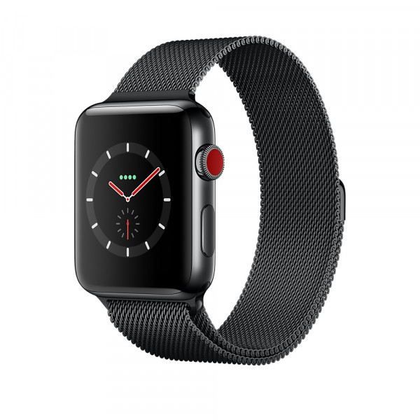 Apple Watch Series 3 GPS + Cellular 42mm Space Black Stainless Steel w. Space Black Milanese L. (MR1L2)
