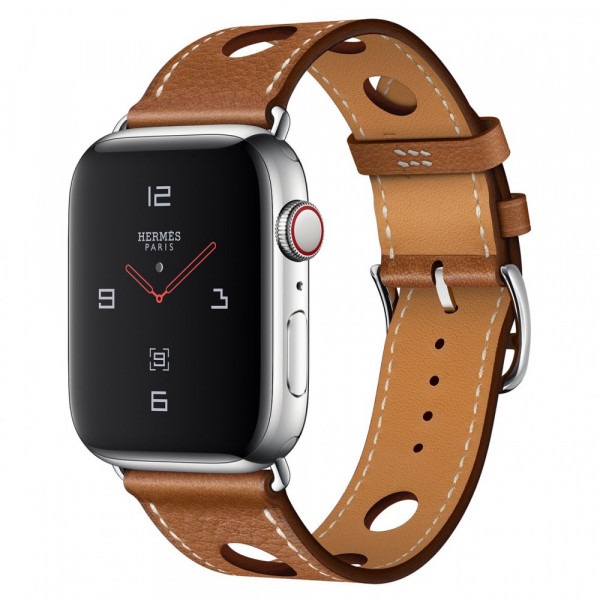 Apple Watch Series 4 Hermes GPS + LTE 44mm Steel c. w. Fauve Grained Barenia L. Single Tour Rallye (MU9E2)