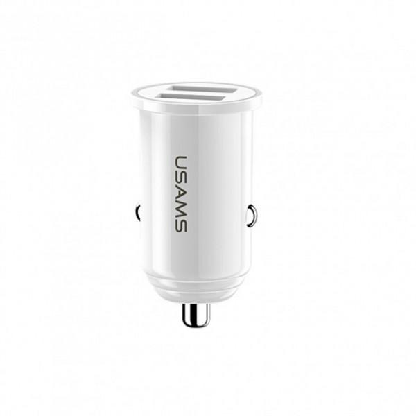 Автомобильное зарядное устройство USAMS C8 3.1A Dual USB Mini (white)