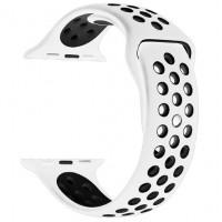 Ремешок-браслет для Apple Watch 38mm Silicone Nike Sport Band (white-black)