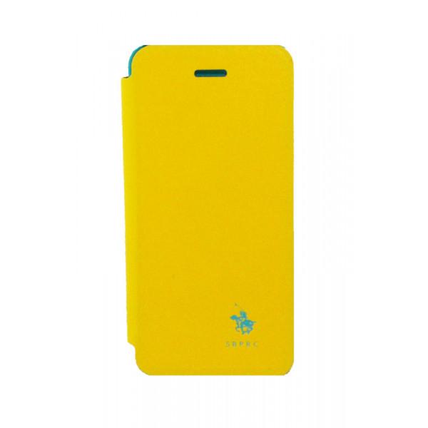 Чехол Книжка для iPhone 5/5S SANTA BARBARA DESINGNER (Жёлтый) (Кожа)