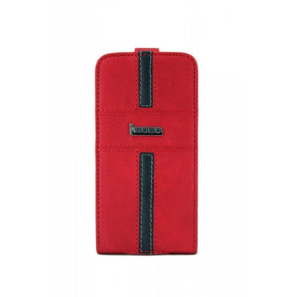 Чехол Флип для iPhone 4/4S iMobo (красный) (кожа)