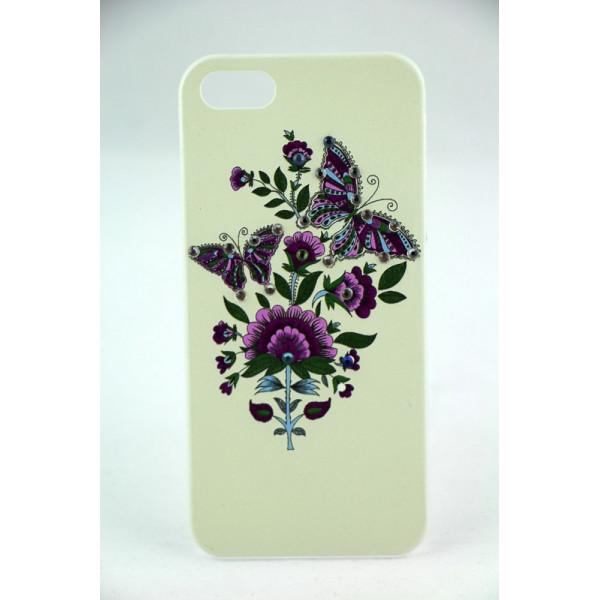 Чехол Накладка для iPhone  5/5S LAVAS SWAROVSKI Butterfly (Белый) (Пластик)