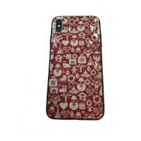 Чехол накладка iPhone Xs Max Rhombus Merry Christmas (red)