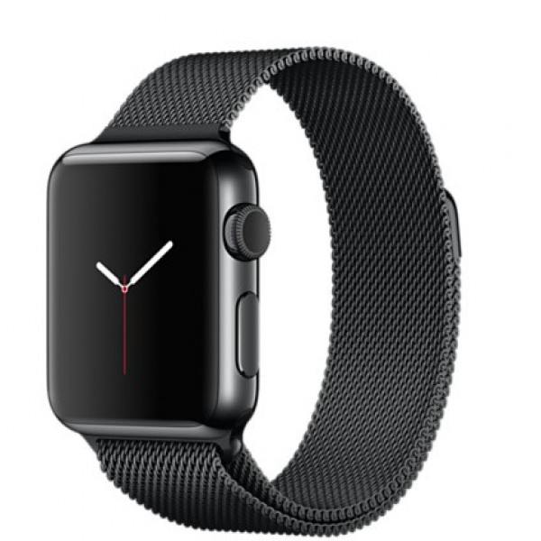 Apple Watch 38mm Space Black Stainless Steel Case, Space Black Milanese Loop (MMFK2)