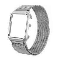 Ремешок-браслет для Apple Watch 38mm Milanese Loop Band + Metal Case(Silver)