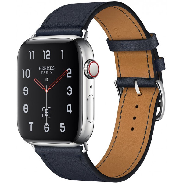 Apple Watch Hermes Series 4 GPS + Cellular 44mm Stainless Steel Case with Bleu Indigo Swift Leather Single Tour (MU772)