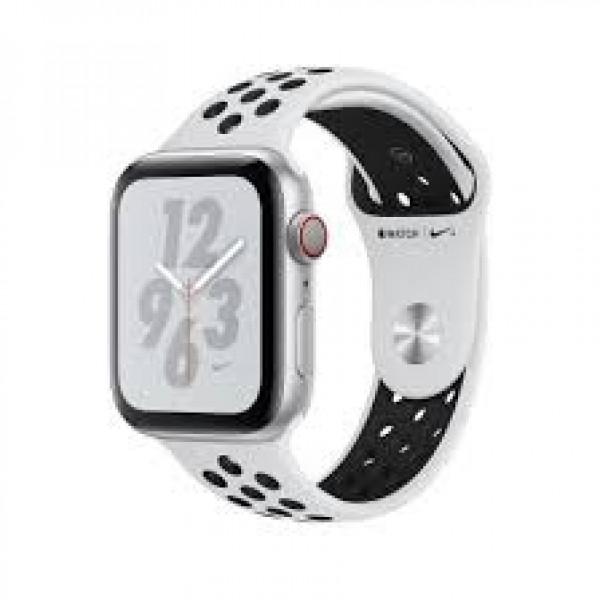 Apple Watch Nike+ Series 4 GPS + LTE 44mm Silver Alum. w. Platinum/Black Nike Sport b. Silver Alum. (MTXC2)