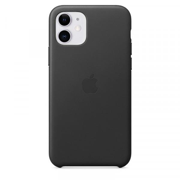 Чехол Накладка для iPhone 11 Apple Leather Case (Black)