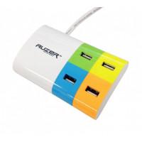 Автомобильное зарядное устройство AUZER 4*USB(1A/2.1A) для iPhone/iPod/iPad (Белый)