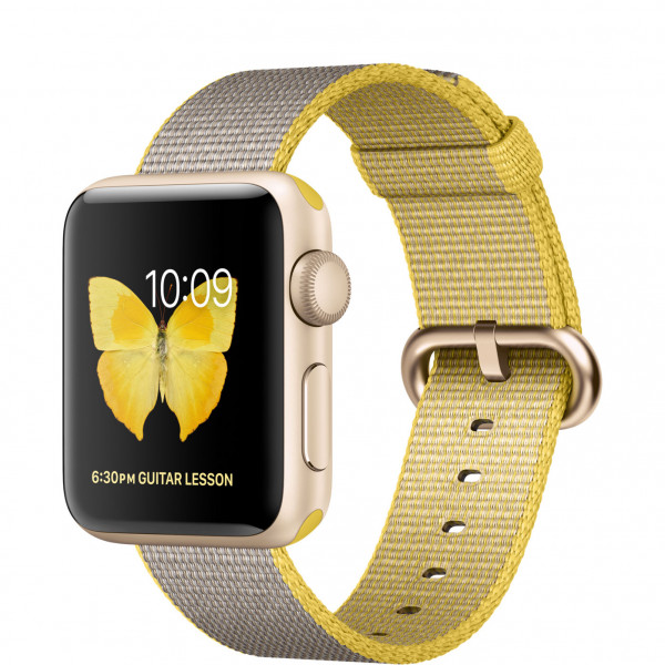 Apple Watch Series 2 38mm Gold Aluminum Case with Yellow/Light Gray Woven Nylon Band (MNP32)