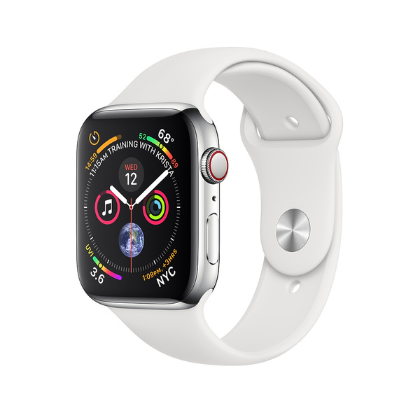 Apple Watch Series 4 GPS + LTE 40mm Stainless Steel Case with White Sport Band (MTUL2)