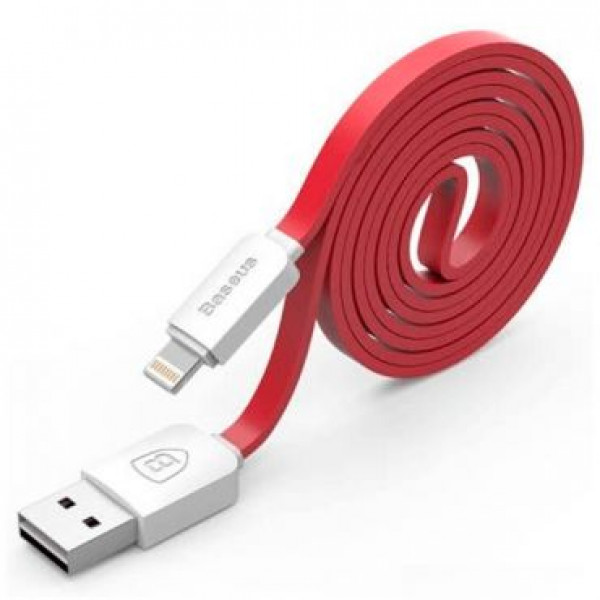 Кабель синхронизации Baseus String Series Noodle Style Lightning to USB Data Charge (1M) White/ Red