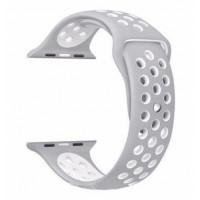 Ремешок-браслет для Apple Watch 42mm Silicone Nike Sport Band (Platinum-White)