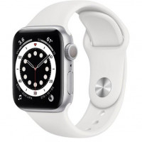 Apple Watch Series 6 GPS 40mm Silver Aluminum Case w. White Sport B. (MG283)