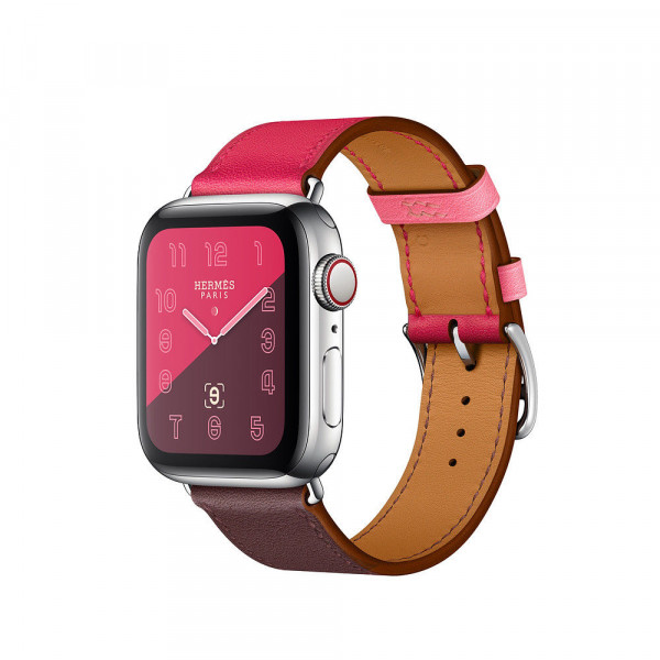 Apple Watch Hermès GPS + Cellular, 40mm Stainless Steel Case with Bordeaux/Rose Extreme/Azalee Swift Leather Double Tour (MU732)