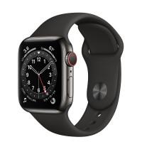 Apple Watch Series 6 GPS + Cellular 40mm Graphite Stainless Steel Case w. Black Sport B. (M02Y3, M06X3)
