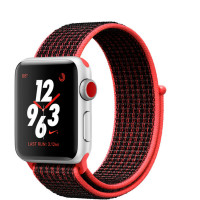 Apple Watch Nike+ Series 3 (GPS + Cellular) 38mm Silver Aluminum w. Bright Crimson/BlackSport L. (MQL72)