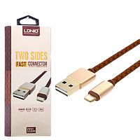 Кабель Apple Lightning LDNIO LS-25 (USB)(1.2m) (Темно коричневый) (Эко-кожа)