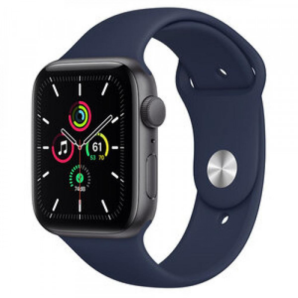 Apple Watch SE GPS 44mm Space Gray Aluminum Case w. Deep Navy Sport B. (MYE32)